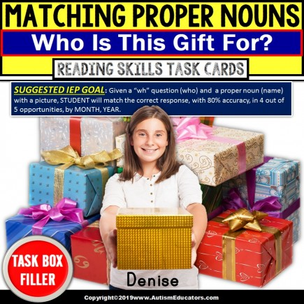 "PROPER NOUNS with Pictures Task Cards WHO IS THIS GIFT FOR ""Task Box Filler"""