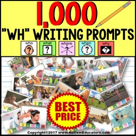 WH Questions Writing and Language Prompt Cards GROWING BUNDLE Autism Resource