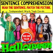 "SENTENCE COMPREHENSION Which Halloween Costume Task Cards ""Task Box Filler"""