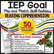 "READING COMPREHENSION IEP Skill Builder December Social Skills ""WH Questions"" WORKSHEETS"