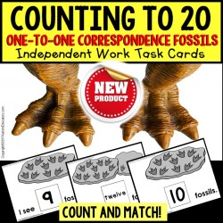 One To One Correspondence Counting To 20 DINOSAUR FOSSILS Task Cards for Autism TASK BOX FILLER