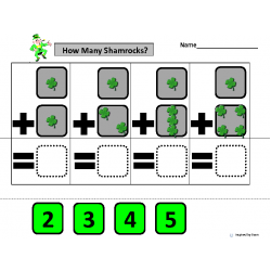 """How Many Shamrocks?"" Simple Addition with Dice for Autism"