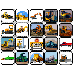 """Construction Vehicles"" Picture Matching/Flashcards/Memory Game for Autism"