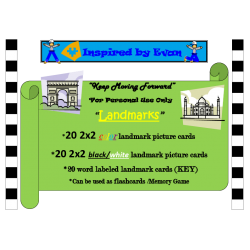 Landmark Picture Matching/Flashcards/Memory Game for Autism