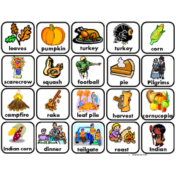 """Fall & Thanksgiving"" Words for Autism"