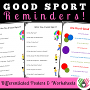 Good Sport Reminders {12 Differentiated Posters and Worksheets}