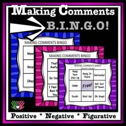 Making Comments BINGO {For k-5th Grade or Ability}