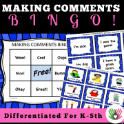 Making Comments BINGO || Social Skills For K-5th