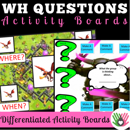 "Asking ""Wh"" Questions Activity Boards: Set 2"