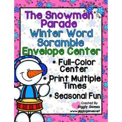 The Snowmen Parade Winter Word Scramble Envelope Center