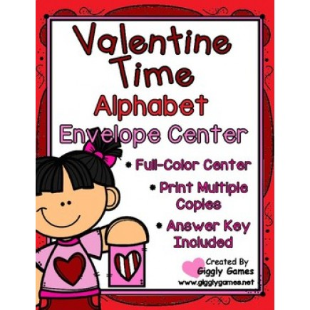 Valentine Time Alphabet Uppercase to Lowercase Envelope Center