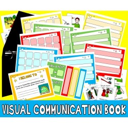 COMMUNICATION PICTURE BOOK : Schedules, Routines & Choices Set with 120 PECs Cards ... visual aide autism special education aac asd pdd