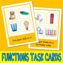 FUNCTIONS PHOTO TASK CARDS inferences autism aba speech therapy activity