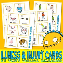 135 INJURY & ILLNESS PECS : Large Picture Communication Cards medical what hurts autism aba