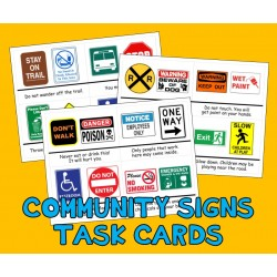 COMMUNITY SAFETY SIGNS TASK CARDS street autism aba speech therapy pecs activity