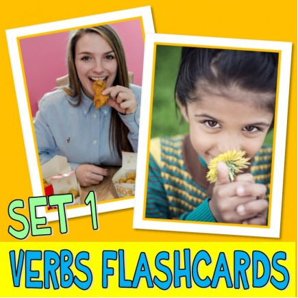 VERBS PHOTO FLASHCARDS SET 1 actions autism aba speech therapy pecs activity