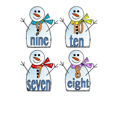 File Folder Number Words (Snowmen)