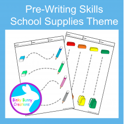 Pre-Writing Pencil Drawing Skills Fine Motor Back to School Supplies Theme
