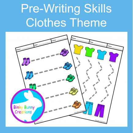 Pre-Writing Pencil Drawing Skills Fine Motor Clothes Theme