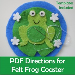 Felt Frog Coaster Sewing Craft Templates & Directions