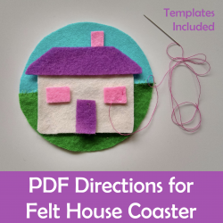 Felt House Coaster Sewing Craft activity