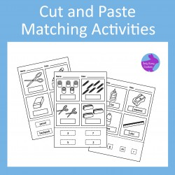 Cut and Paste School Supplies Matching Activity Worksheets