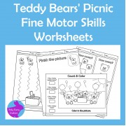 Teddy Bears' Picnic Fine Motor Skills Cut Paste Count Draw Worksheets
