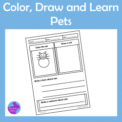Color Draw and Learn Pets Doodle Activity pages