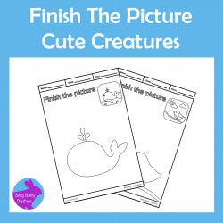 Finish The Picture Cute Creatures Fine Motor Skills Drawing Activity worksheets
