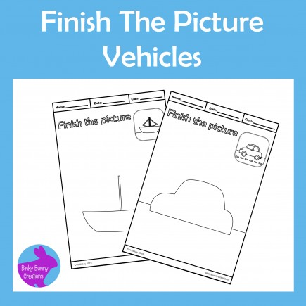 Finish The Picture Vehicles Fine Motor Skills Drawing Activity