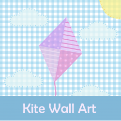 Cut and Paste Kite Wall Art Picture Paper Craft Activity
