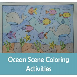 Ocean Color by Numbers Cut Paste Count Draw Summer Activities
