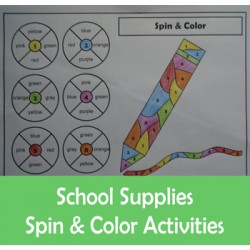 Back to School Supplies Spin Color by Number