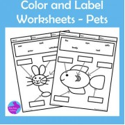 Pets Color and Label Worksheets Motor Skills OT