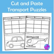 Cut Paste Vehicles Transport Puzzles Fine Motor Scissor Skills OT