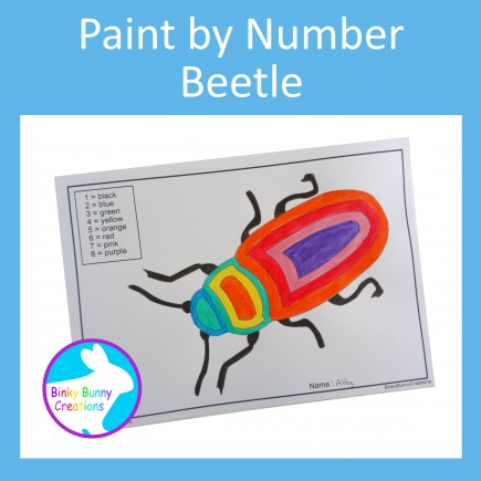 Paint By Number Beetle Fine Motor Skills Art and Crafts Activity