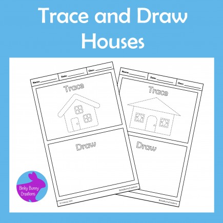 Trace and Draw Houses Fine Motor Skills Activity