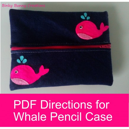Whale Pencil Case Felt Sewing Craft activity