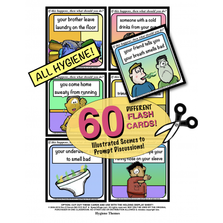 PROBLEM SOLVING ILLUSTRATED! HYGIENE TOPICS! 60 Cards! 50 Pages! Problems & WH-Questions!