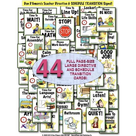 SCHEDULE TRANSITION & TEACHER DIRECTIVE SIGNS! 44 PAGE-SIZE & 44 SMALL SIGNS!