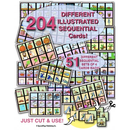 SEQUENTIAL PICTURE CARDS MEGA PACK! 204 DIFFERENT CARDS! 51 SEQUENCES of  4-CARDS EACH!