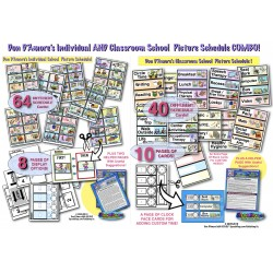 INDIVIDUAL & CLASSROOM SCHOOL Picture Schedule Cards COMBO! W/ Multiple Display Options!