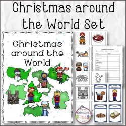 Christmas around the World Flashcards, Matching, and Research Worksheets