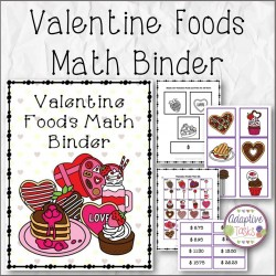 Valentine Foods Math Binder