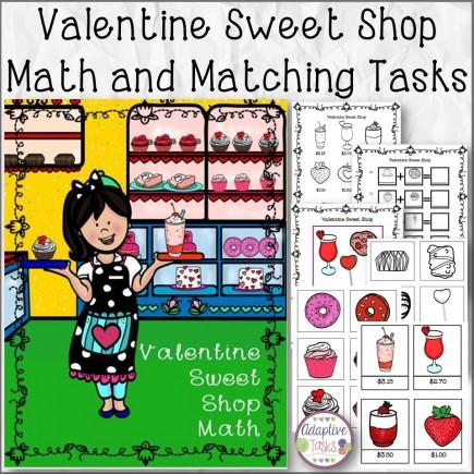 Valentine Sweet Shop Math and Matching Tasks