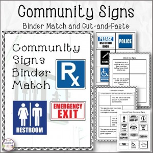 Community Signs Binder Match and Cut-and-Paste