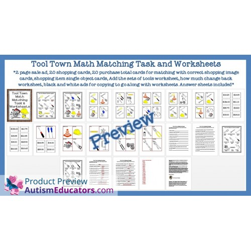 Town Math Matching Task And Worksheets