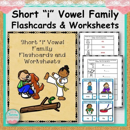 "Short ""i"" Vowel Family Flashcards and Worksheets"