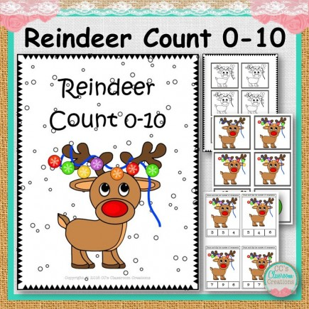 Reindeer Count 0-10 Clip and Match