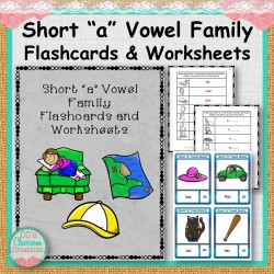 "Short ""a"" Vowel Family Flashcards and Worksheets"